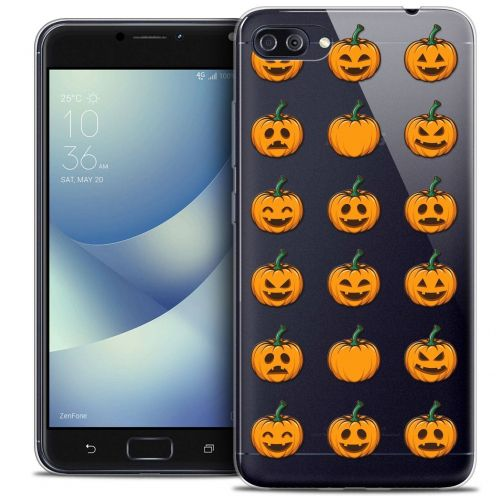 "Carcasa Crystal Gel Extra Fina Asus Zenfone 4 MAX PLUS / Pro ZC554KL (5.5"") Halloween Smiley Citrouille"