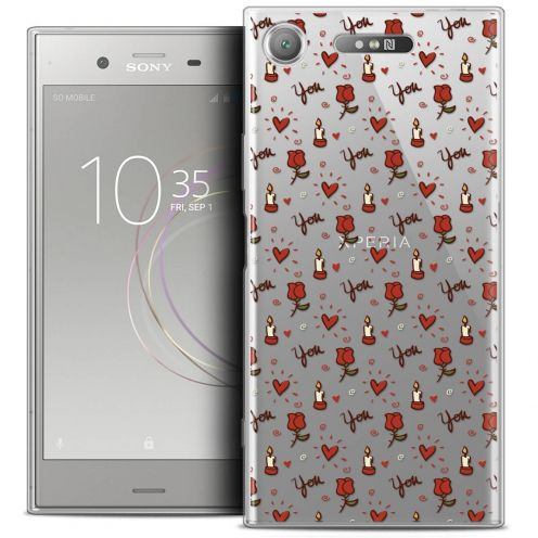 """Coque Crystal Gel Sony Xperia XZ1 (5.2"""") Extra Fine Love - Bougies et Roses"""