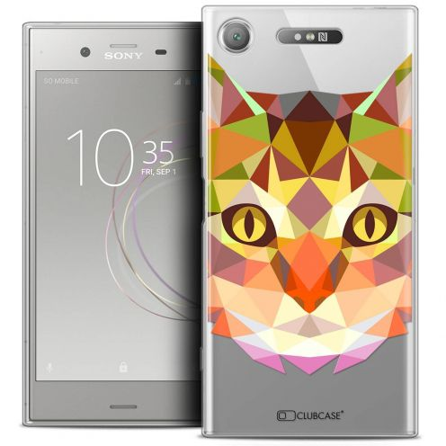 "Carcasa Crystal Gel Extra Fina Sony Xperia XZ1 (5.2"") Polygon Animals Gato"