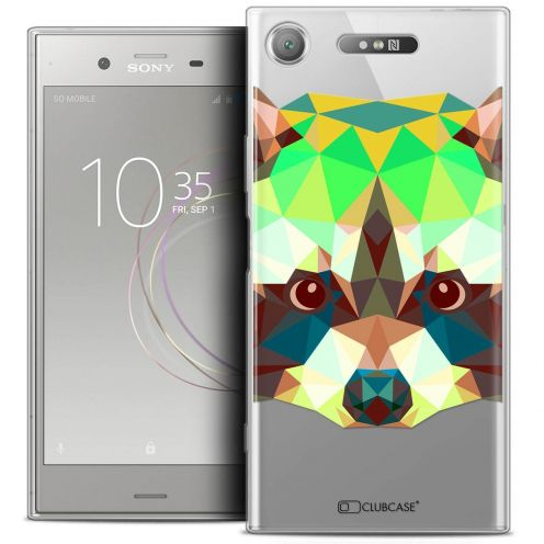 "Coque Crystal Gel Sony Xperia XZ1 (5.2"") Extra Fine Polygon Animals - Raton Laveur"