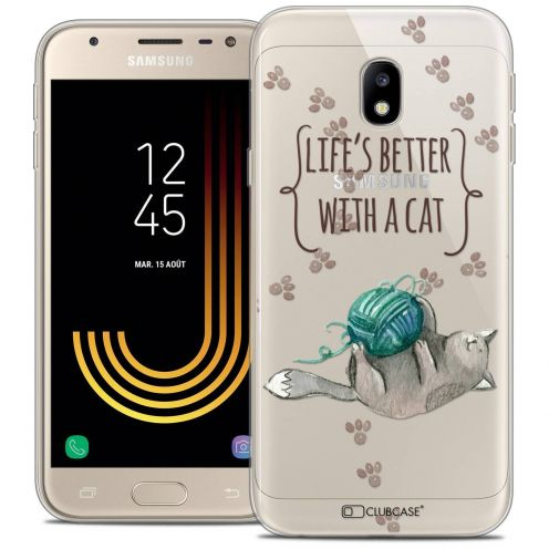"""Coque Crystal Gel Samsung Galaxy J3 2017 J320 (5"""") Extra Fine Quote - Life's Better With a Cat"""