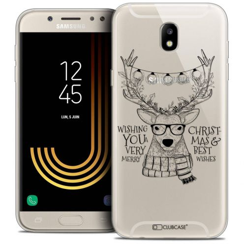 "Coque Crystal Gel Samsung Galaxy J7 2017 J730 (5.5"") Extra Fine Noël 2017 - Cerf Hipster"