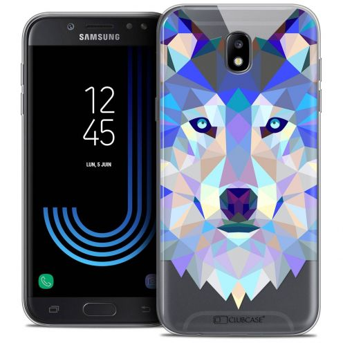 "Coque Crystal Gel Samsung Galaxy J7 2017 J730 (5.5"") Extra Fine Polygon Animals - Loup"