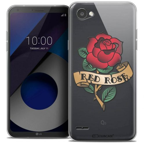 """Coque Crystal Gel LG Q6 (5.5"""") Extra Fine Tatoo Lover - Red Rose"""