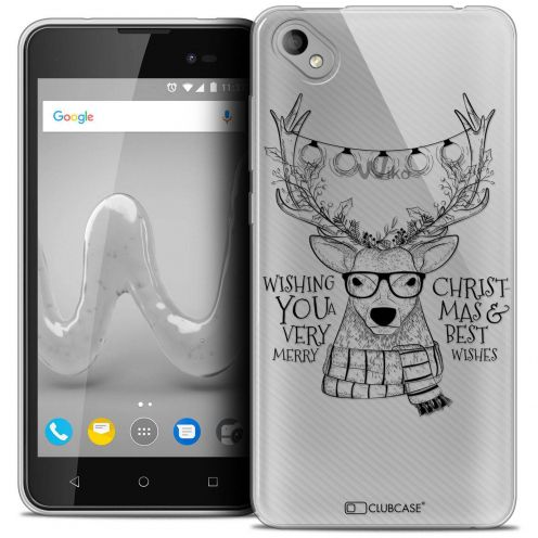 "Coque Crystal Gel Wiko Sunny 2 PLUS (5"") Extra Fine Noël 2017 - Cerf Hipster"