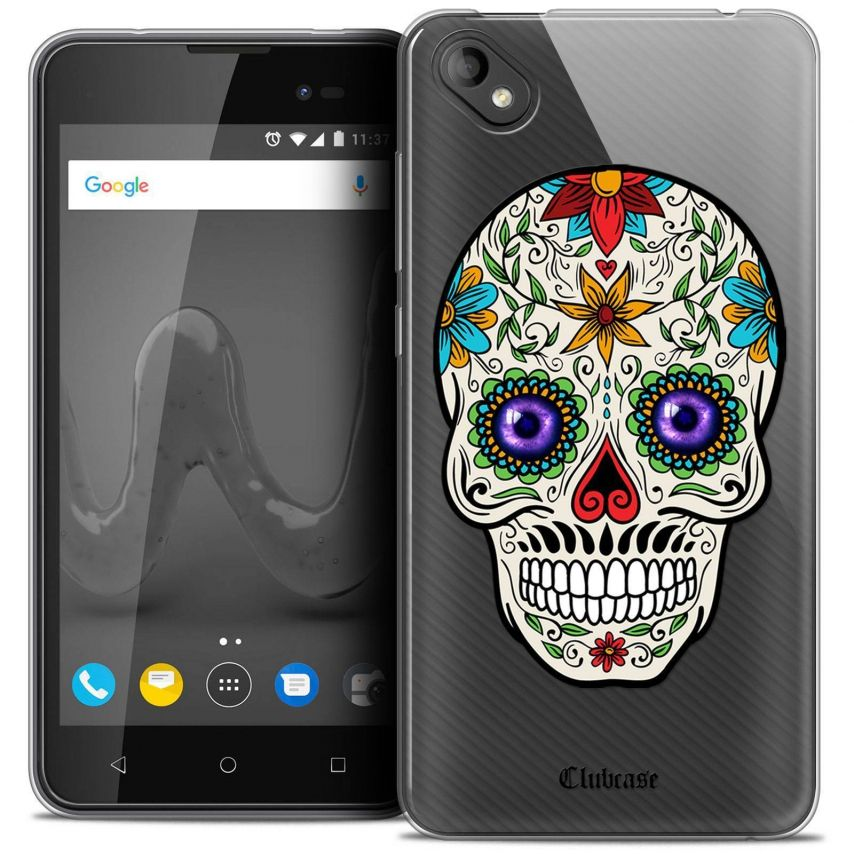 """Coque Crystal Gel Wiko Sunny 2 PLUS (5"""") Extra Fine Skull - Maria's Flower"""