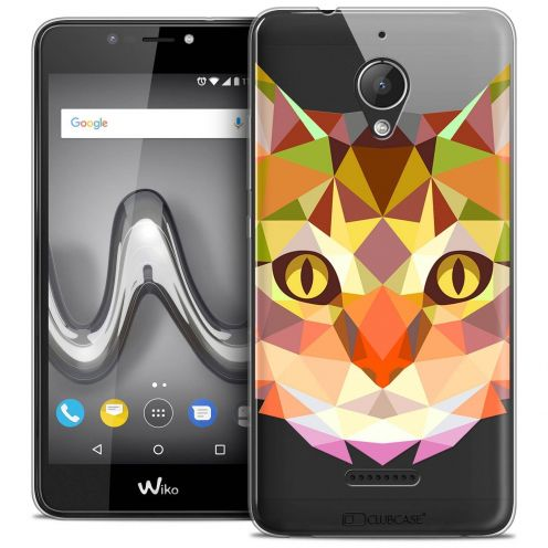"Coque Crystal Gel Wiko Tommy 2 PLUS (5.5"") Extra Fine Polygon Animals - Chat"