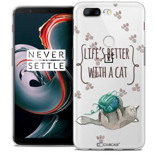 "Coque Crystal Gel OnePlus 5T (6"") Extra Fine Quote - Life's Better With a Cat"