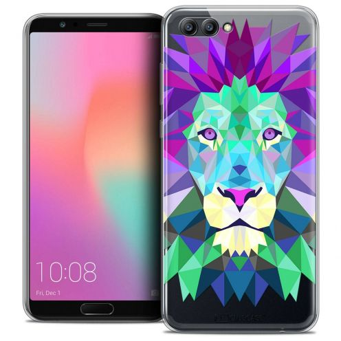 "Coque Crystal Gel Honor View 10 / V10 (6"") Extra Fine Polygon Animals - Lion"