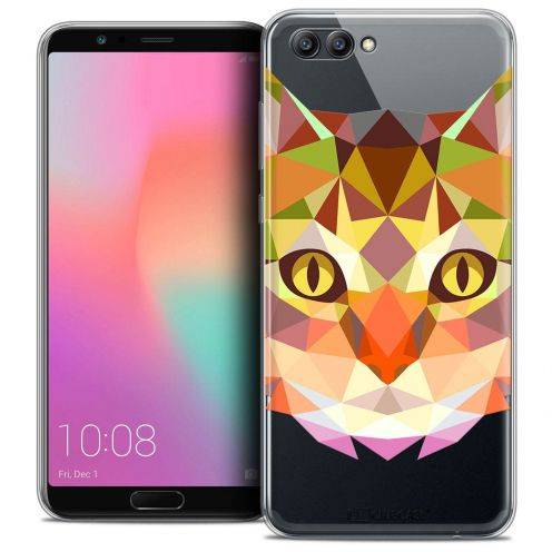 "Coque Crystal Gel Honor View 10 / V10 (6"") Extra Fine Polygon Animals - Chat"