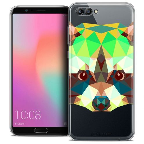 "Coque Crystal Gel Honor View 10 / V10 (6"") Extra Fine Polygon Animals - Raton Laveur"