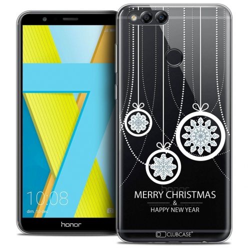 "Coque Crystal Gel Honor 7X (5.9"") Extra Fine Noël 2017 - Christmas Balls"