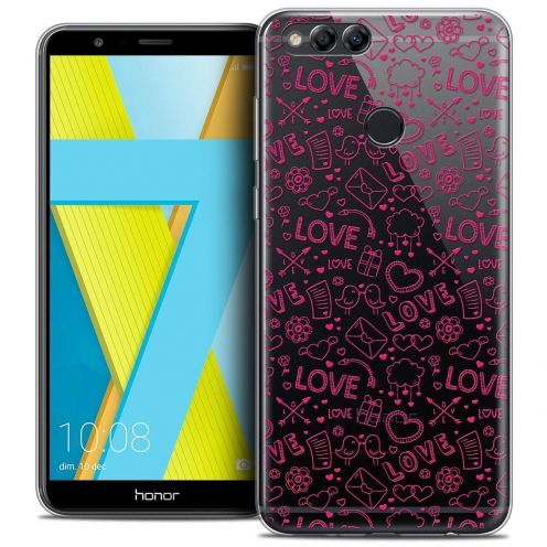 "Coque Crystal Gel Honor 7X (5.9"") Extra Fine Love - Doodle"
