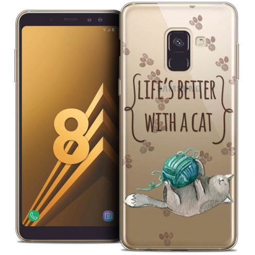 """Coque Crystal Gel Samsung Galaxy A8 (2018) A530 (5.6"""") Extra Fine Quote - Life's Better With a Cat"""