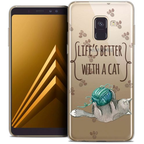 """Coque Crystal Gel Samsung Galaxy A8+ (2018) A730 (6.0"""") Extra Fine Quote - Life's Better With a Cat"""