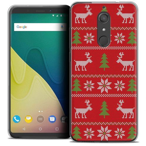 """Coque Crystal Gel Wiko View XL (5.99"""") Extra Fine Noël 2017 - Couture Rouge"""