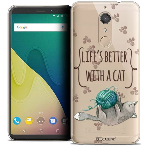 """Coque Crystal Gel Wiko View XL (5.99"""") Extra Fine Quote - Life's Better With a Cat"""