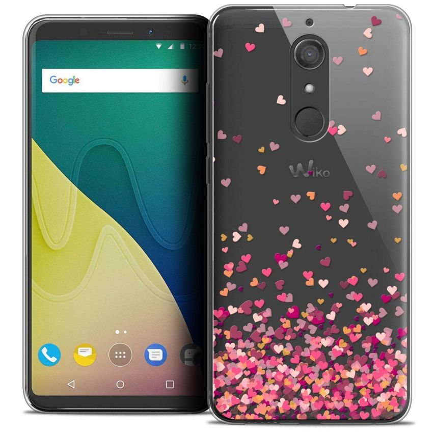 """Coque Crystal Gel Wiko View XL (5.99"""") Extra Fine Sweetie - Heart Flakes"""