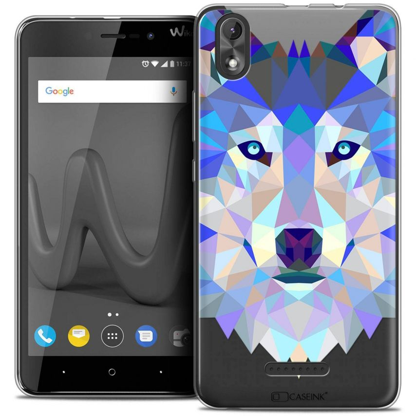 """Coque Crystal Gel Wiko Lenny 4 PLUS (5.5"""") Extra Fine Polygon Animals - Loup"""