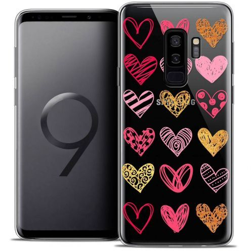 "Coque Crystal Gel Samsung Galaxy S9+ (6.2"") Extra Fine Sweetie - Doodling Hearts"