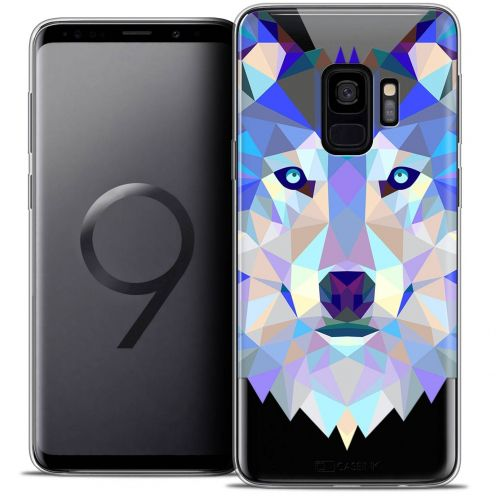 "Coque Crystal Gel Samsung Galaxy S9 (5.8"") Extra Fine Polygon Animals - Loup"