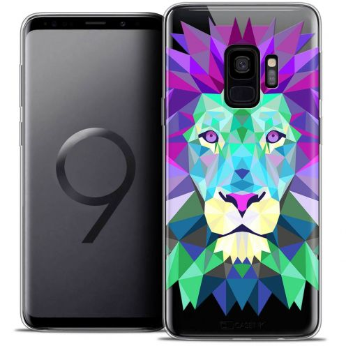 "Coque Crystal Gel Samsung Galaxy S9 (5.8"") Extra Fine Polygon Animals - Lion"