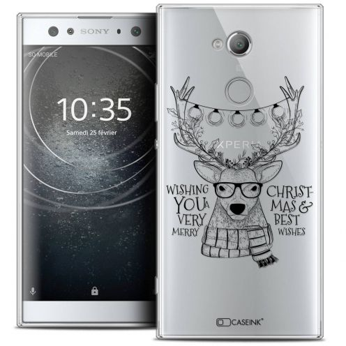 "Coque Crystal Gel Sony Xperia XA2 ULTRA (6"") Extra Fine Noël 2017 - Cerf Hipster"