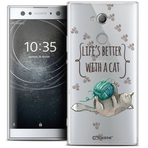 "Carcasa Crystal Gel Extra Fina Sony Xperia XA2 ULTRA (6"") Quote Life's Better With a Cat"