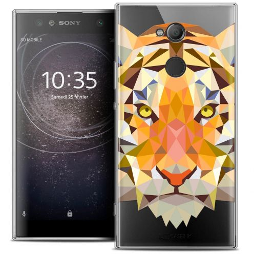 "Coque Crystal Gel Sony Xperia XA2 ULTRA (6"") Extra Fine Polygon Animals - Tigre"