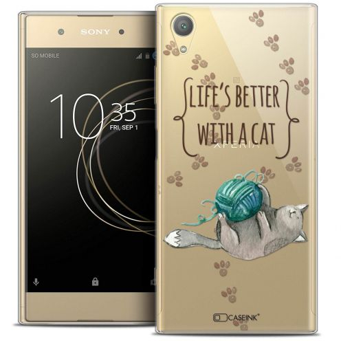 "Coque Crystal Gel Sony Xperia XA1 PLUS (5.5"") Extra Fine Quote - Life's Better With a Cat"