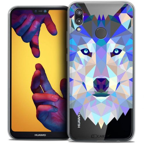 "Coque Crystal Gel Huawei P20 LITE (5.84"") Extra Fine Polygon Animals - Loup"