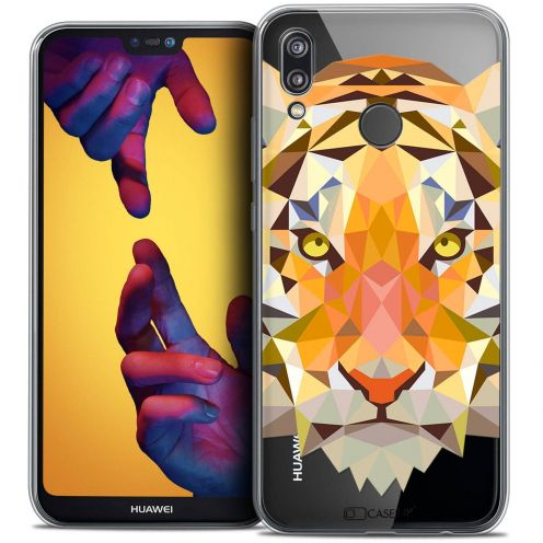 "Coque Crystal Gel Huawei P20 LITE (5.84"") Extra Fine Polygon Animals - Tigre"