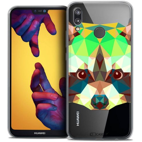 "Carcasa Crystal Gel Extra Fina Huawei P20 LITE (5.84"") Polygon Animals Raton Laveur"
