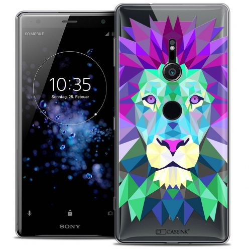 "Coque Crystal Gel Sony Xperia XZ2 (5.7"") Extra Fine Polygon Animals - Lion"