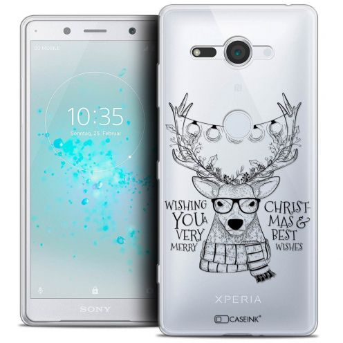 "Carcasa Crystal Gel Extra Fina Sony Xperia XZ2 Compact (5.0"") Noël 2017 Cerf Hipster"