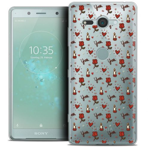 "Carcasa Crystal Gel Extra Fina Sony Xperia XZ2 Compact (5.0"") Love Bougies et Roses"
