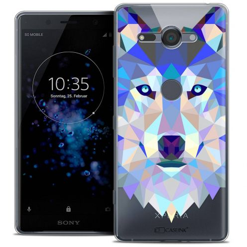 """Coque Crystal Gel Sony Xperia XZ2 Compact (5.0"""") Extra Fine Polygon Animals - Loup"""