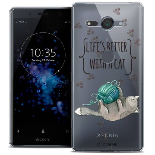 "Carcasa Crystal Gel Extra Fina Sony Xperia XZ2 Compact (5.0"") Quote Life's Better With a Cat"