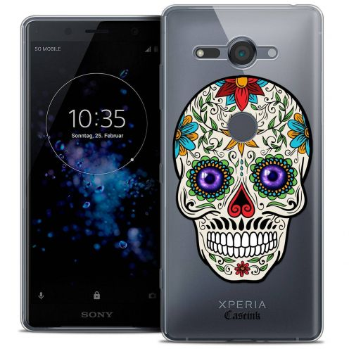 """Coque Crystal Gel Sony Xperia XZ2 Compact (5.0"""") Extra Fine Skull - Maria's Flower"""