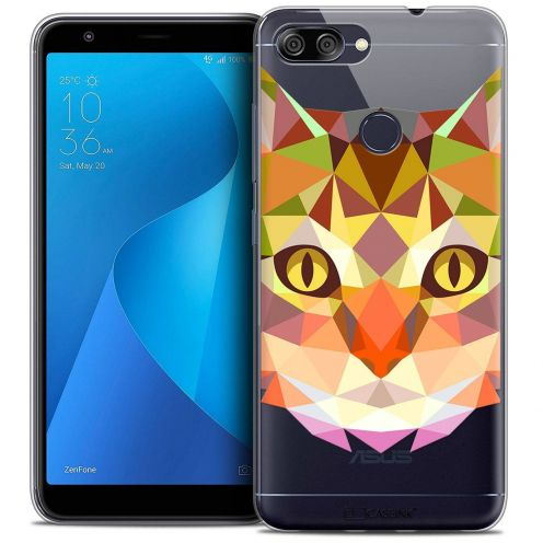 """Coque Crystal Gel Asus Zenfone Max Plus (M1) ZB570TL (5.7"""") Extra Fine Polygon Animals - Chat"""