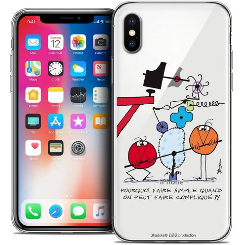 Carcasa Crystal Gel Extra Fina Apple iPhone X (10) Les Shadoks® Pourquoi faire Simple