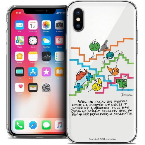 Carcasa Crystal Gel Extra Fina Apple iPhone X (10) Les Shadoks® L'escalier