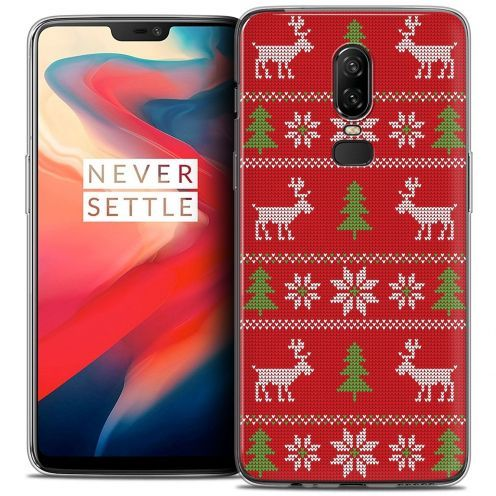 "Coque Crystal Gel OnePlus 6 (6.28"") Extra Fine Noël 2017 - Couture Rouge"