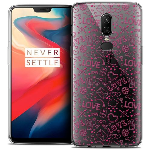 "Coque Crystal Gel OnePlus 6 (6.28"") Extra Fine Love - Doodle"