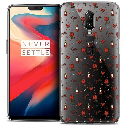 "Coque Crystal Gel OnePlus 6 (6.28"") Extra Fine Love - Bougies et Roses"
