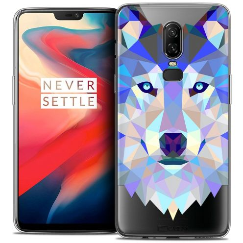 "Coque Crystal Gel OnePlus 6 (6.28"") Extra Fine Polygon Animals - Loup"