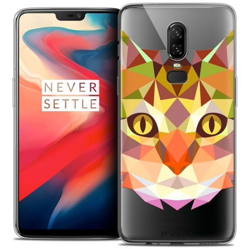 "Coque Crystal Gel OnePlus 6 (6.28"") Extra Fine Polygon Animals - Chat"
