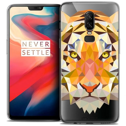 "Coque Crystal Gel OnePlus 6 (6.28"") Extra Fine Polygon Animals - Tigre"