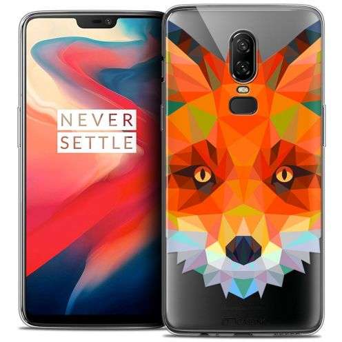 "Coque Crystal Gel OnePlus 6 (6.28"") Extra Fine Polygon Animals - Renard"