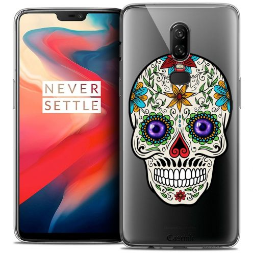 "Coque Crystal Gel OnePlus 6 (6.28"") Extra Fine Skull - Maria's Flower"